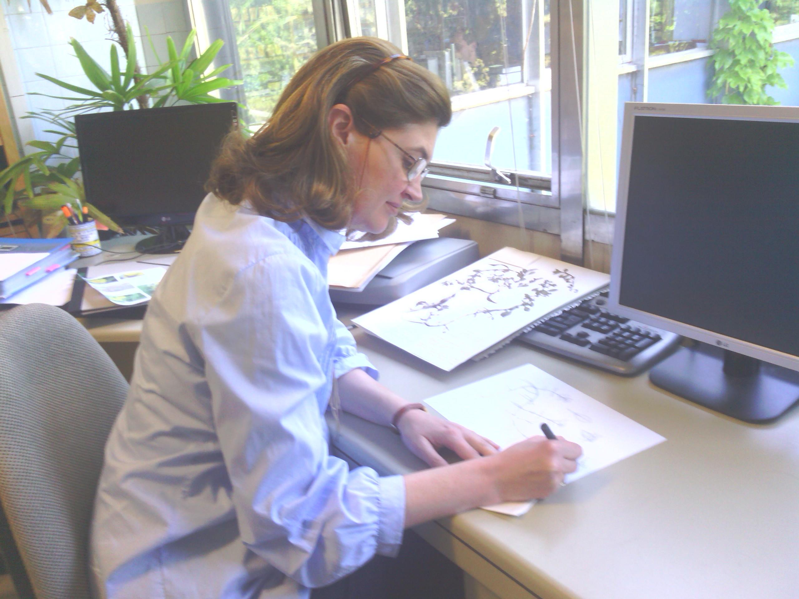 Marta Chirino dibujando en el Real Jardín Botánico