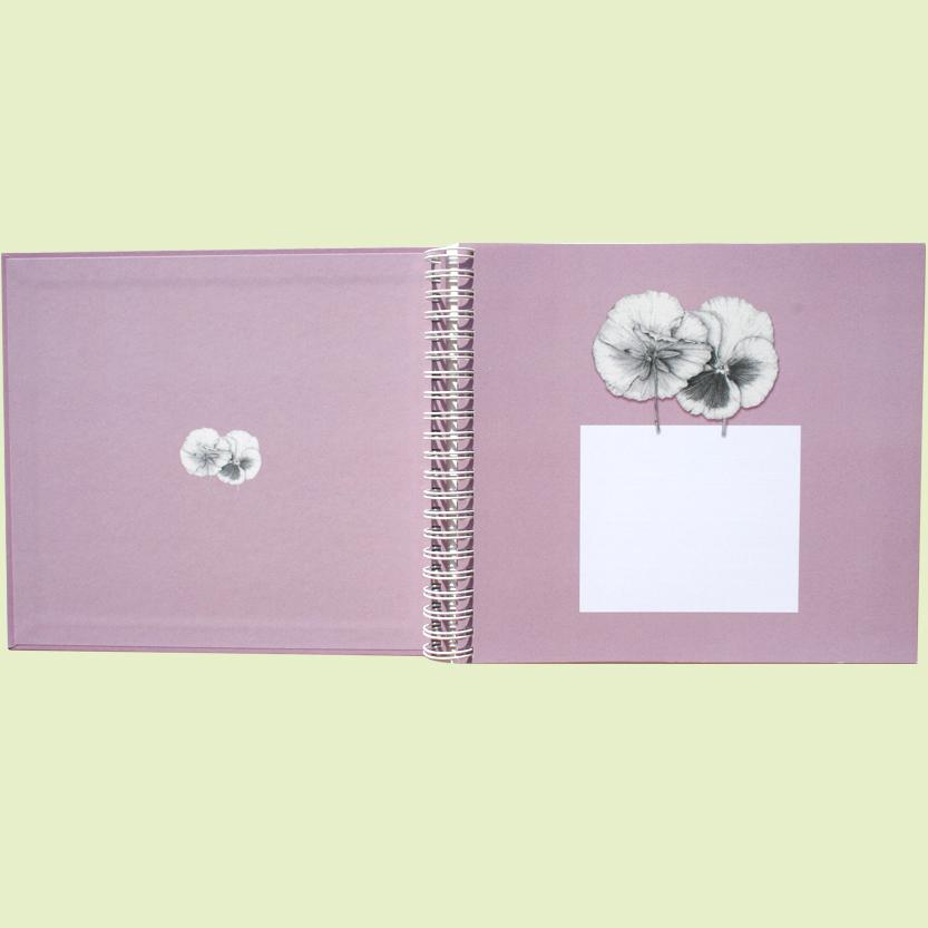Album-cuaderno rosa, hoja de presentación.